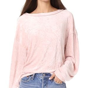Free People Velour Soft Long Sleeve Top Sz XS